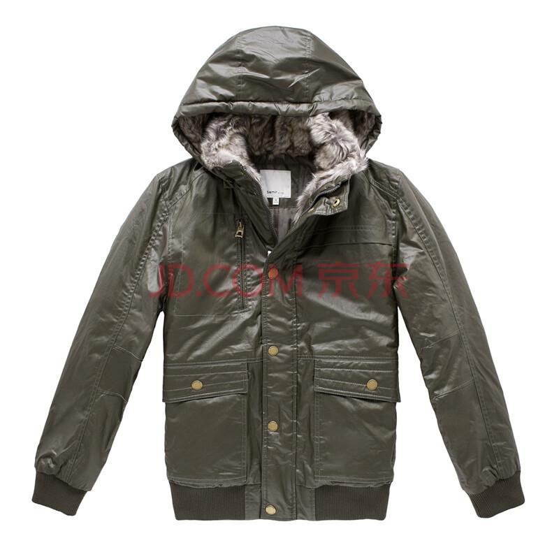 森马2013冬装新款 男装可拆卸帽短款棉服图片