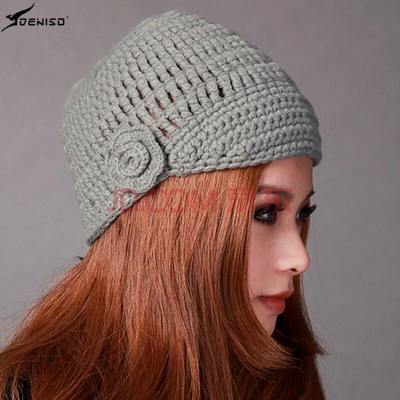 deniso秋冬款女士户外保暖套头毛线帽手工编织针织帽子ds-1119 灰绿色