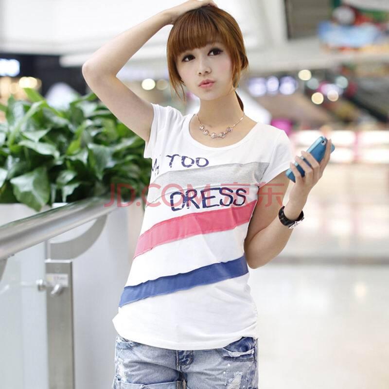 货到付款 2014韩版女装新品时尚简约字母印花斜条纹拼色纯棉修身短袖T恤 N497
