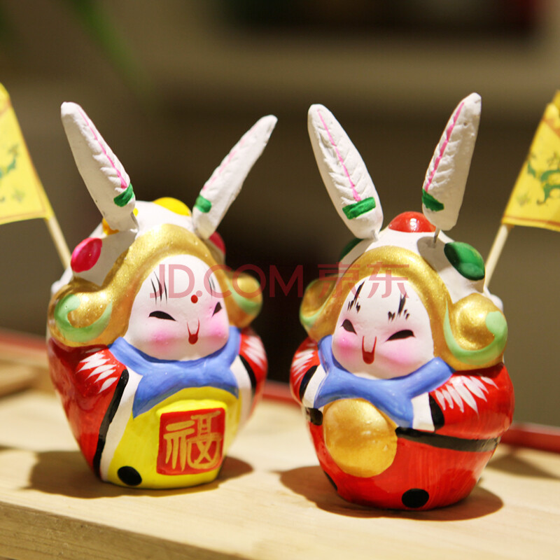 老北京吉祥富贵兔爷/兔奶一对/北京礼物图片