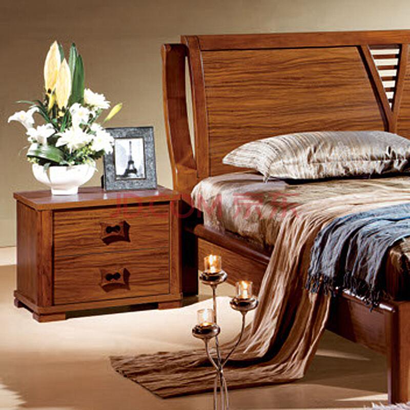汤美斯家具 现代中式乌金木色床头柜 实木简约古典床头柜储物柜 包邮