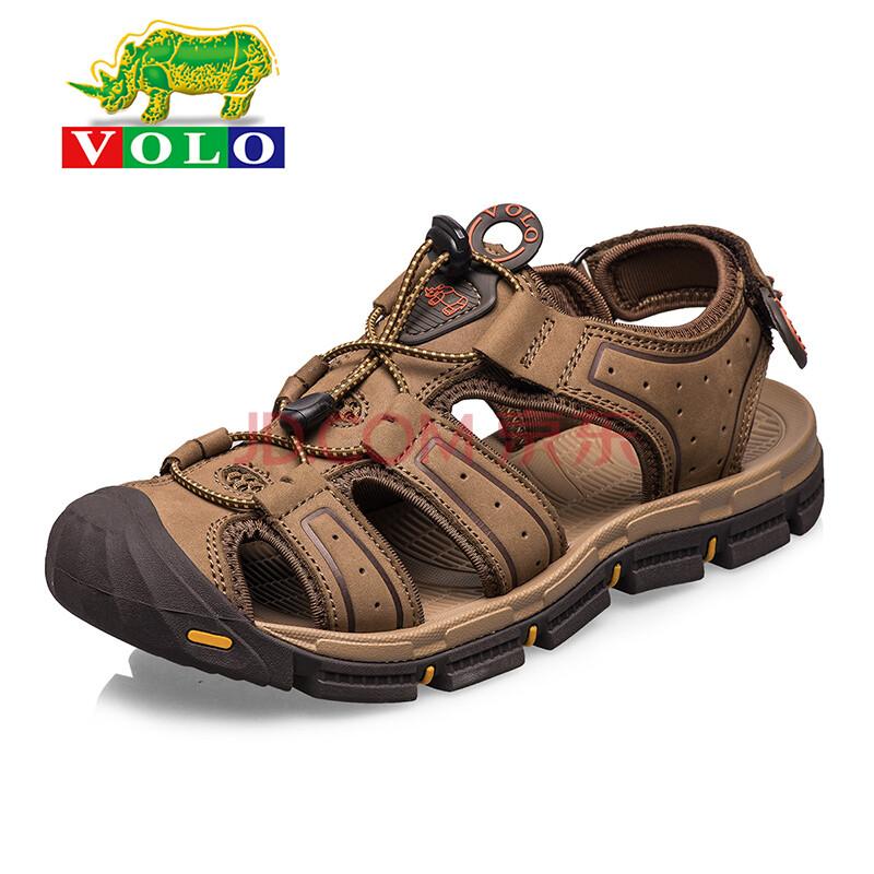 volo犀牛凉鞋夏季真皮包头头层牛皮男士凉鞋沙滩鞋
