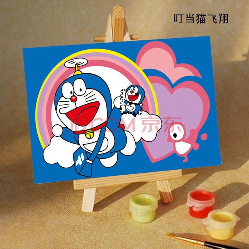 孖堡 数字油画diy 手绘油画 卡通礼物 带画架 10*15百款任选 叮当猫