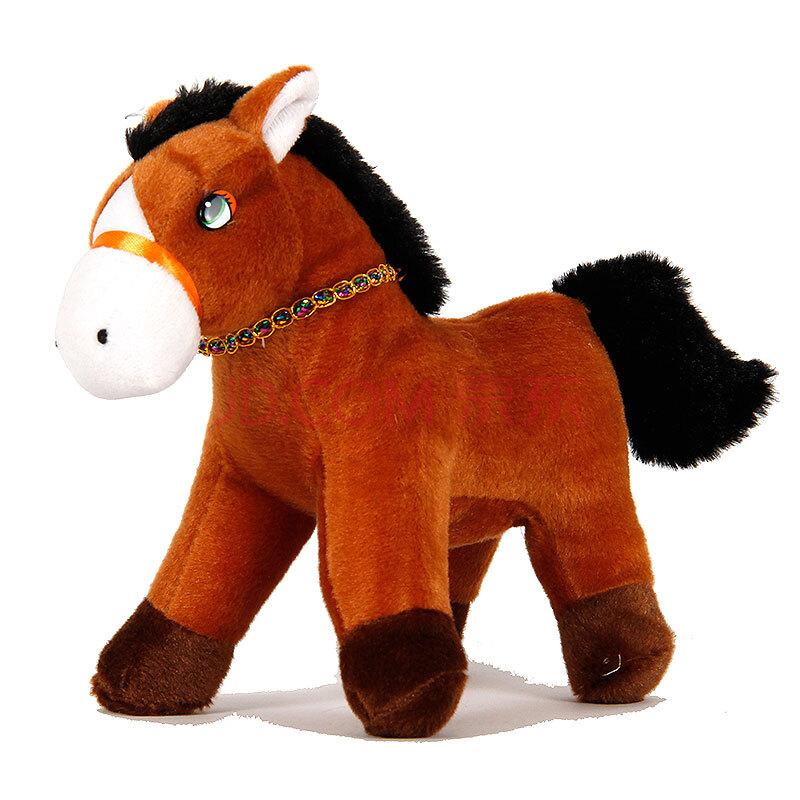 新年吉祥娃娃机马毛绒玩具新年吉祥马免邮费 浅棕色 18cm