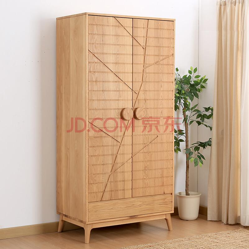 野橡w921双门衣柜白橡木纯实木柜子北欧现代简约原创设计现货 双门