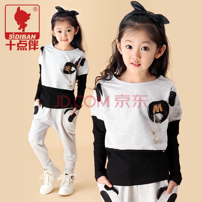 女童熊猫套装 女大童运动两件套