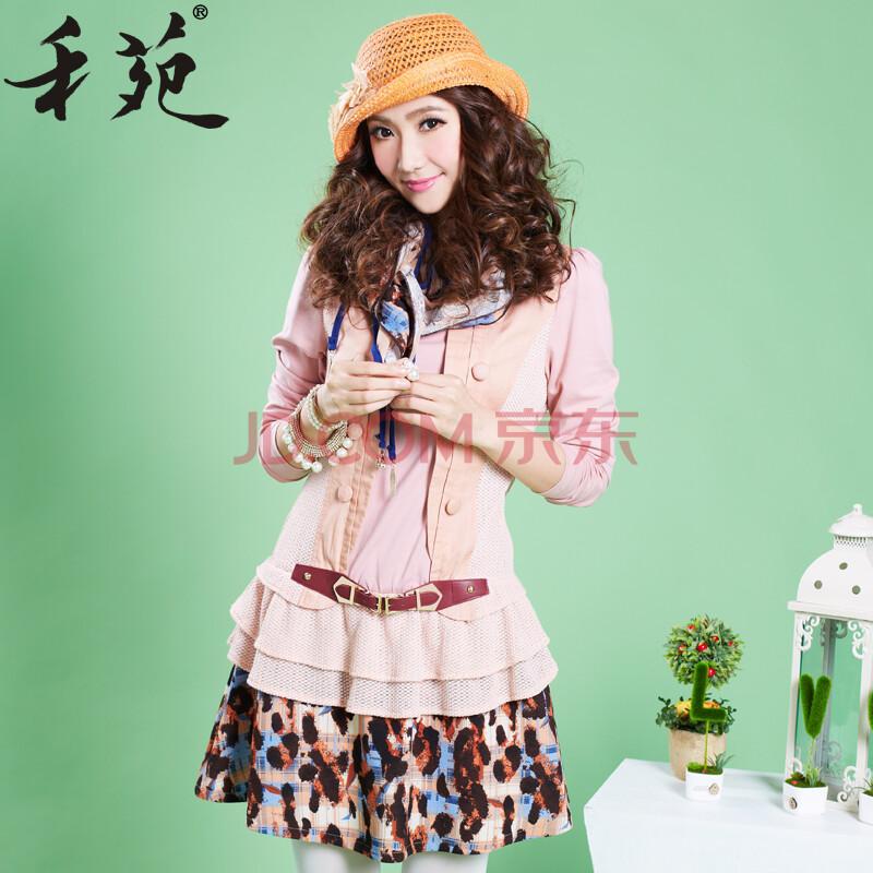 禾苑2014新款春装女装假两件套韩版气质春季修身长袖