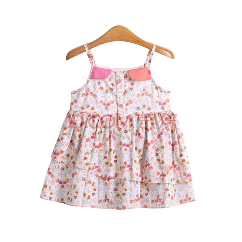 璐迪尔童装新款女宝宝前半开吊带裙儿童背心裙婴幼儿纯棉夏季裙子