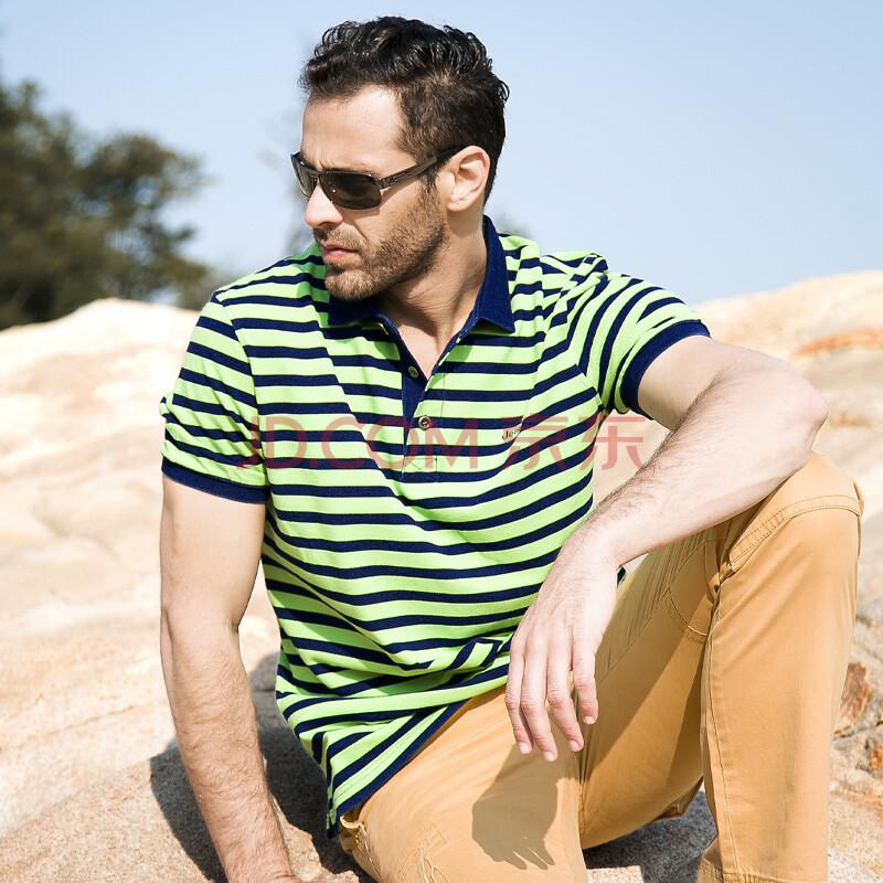 JEEPMS吉普猛士男装 2014夏季新款吉普短袖T恤 纯棉大码POLO衫条纹拼色商务休闲