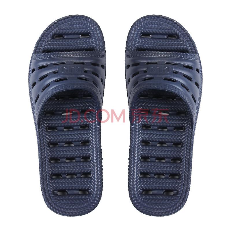 蓝万家居情侣款男女舒适浴室防滑漏水拖鞋LW209 不积水 拖鞋 蓝色 42-43