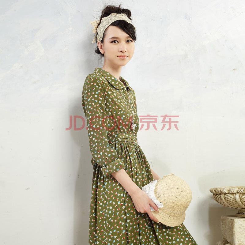 设计师品牌女装森宿 沉睡的宁芙 夏装新款 复古印花清新立体裙摆图片