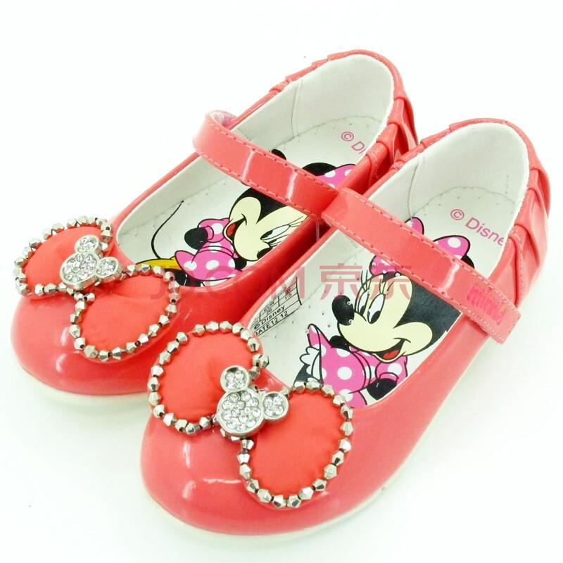 迪士尼 disney 可爱甜美女孩小皮鞋 闪闪水钻米妮鞋 时尚蝴蝶结 s7