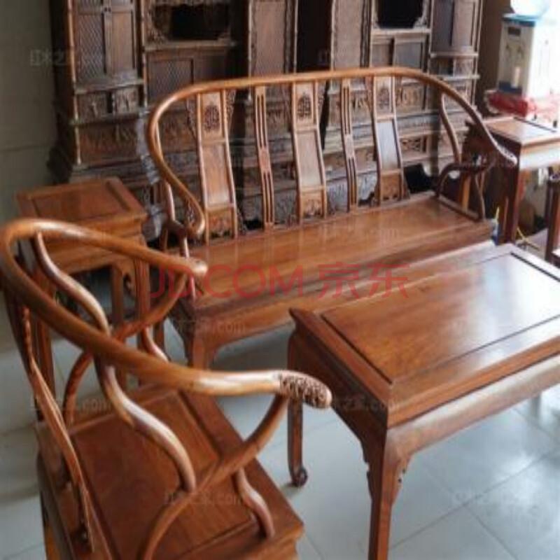 非洲花梨 东作 清式 花梨色 小款 6件套 圈椅 红木之家沙发