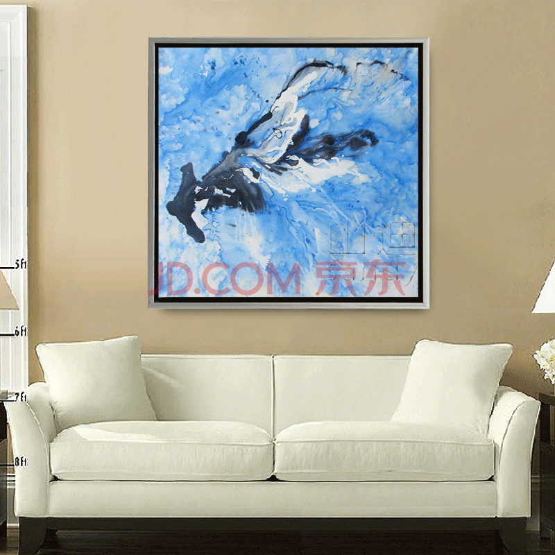 00 山迪 手绘油画装饰画客厅风景画风水壁画办公室山水挂画书房墙画