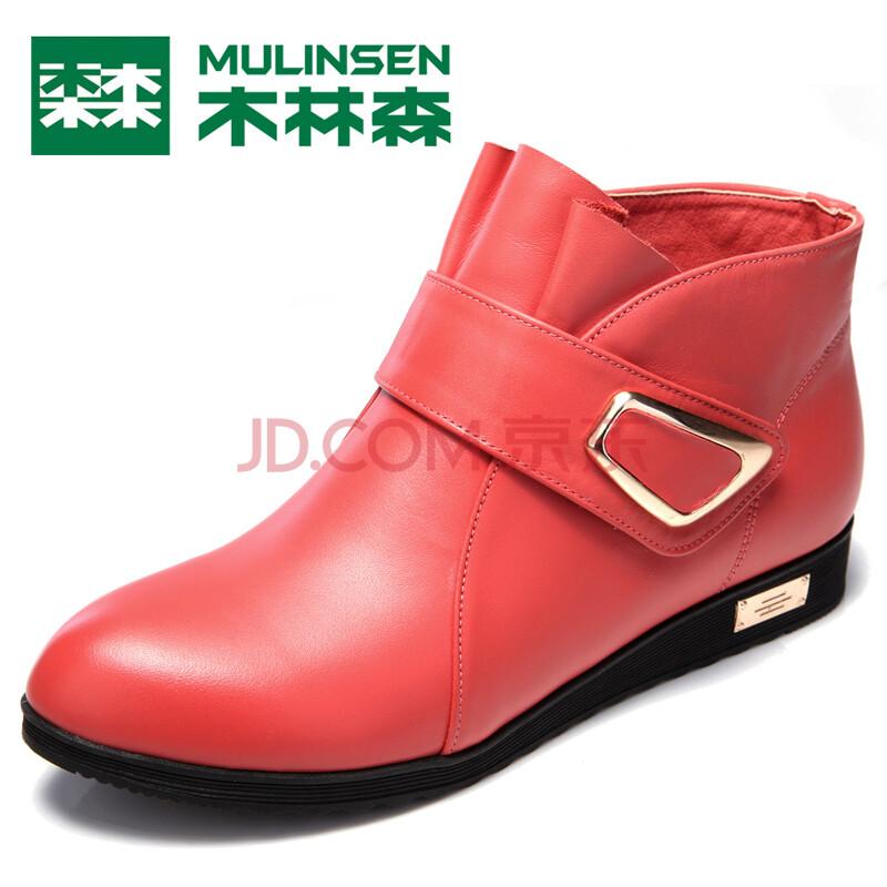 木林森女士日常休闲真皮舒适皮鞋