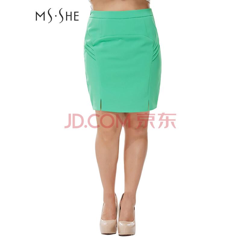 msshe加大码女装2014新款春装下摆开叉修身半身裙
