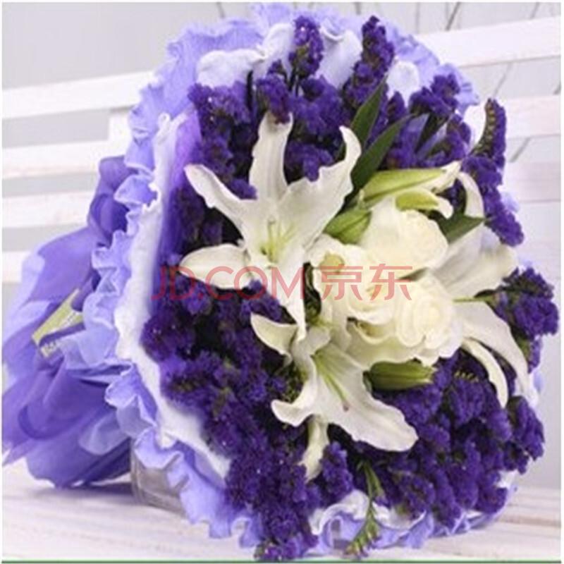 白百合玫瑰紫色勿忘我混搭花束
