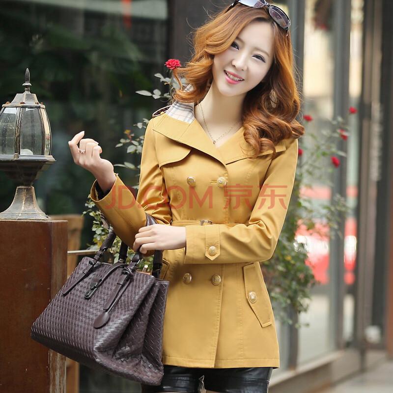 黄色色中色_2014春装新款女风衣 韩版修身 女式中长款外套 女装正品大码 810 黄色