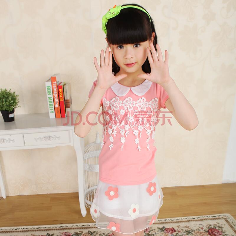 新款儿童短裙套装女童夏款套装两件蕾丝短裙