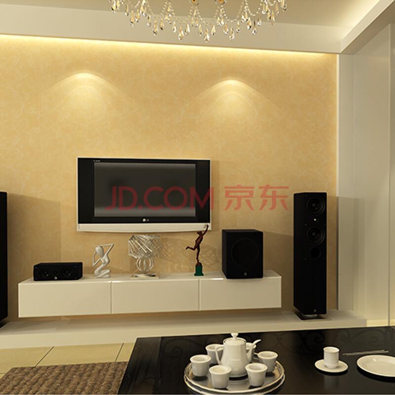 多美正 无纺布墙纸 简约现代客厅电视背景墙纸欧式卧室壁纸 黄色 gl16图片