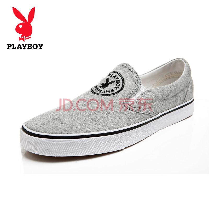 花花公子Playboy 新款男鞋 潮流纯色帆布鞋 日常休闲鞋 懒人鞋13661039 浅灰 41