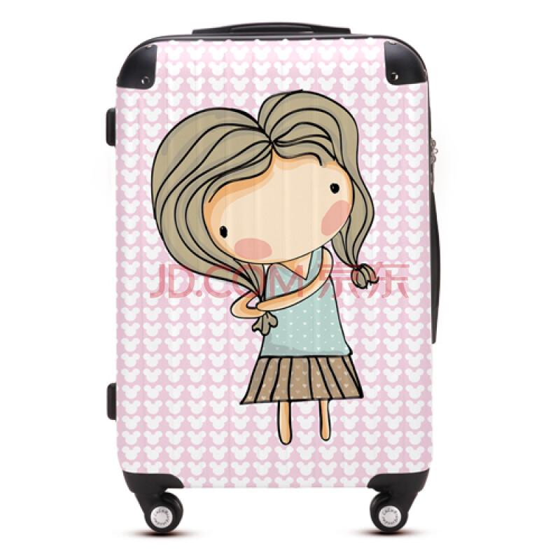 卡通女孩拉杆箱万向飞机轮旅行箱行李登机