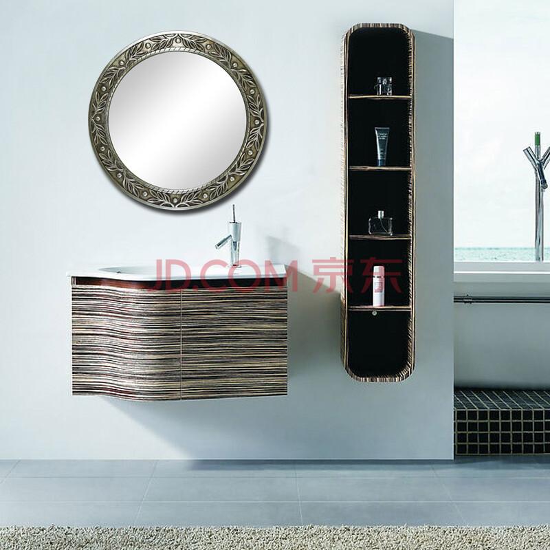 欧式复古浴室镜子 奢华玄关镜正圆形镜 欧式装饰镜子 c-20 纯银色框76