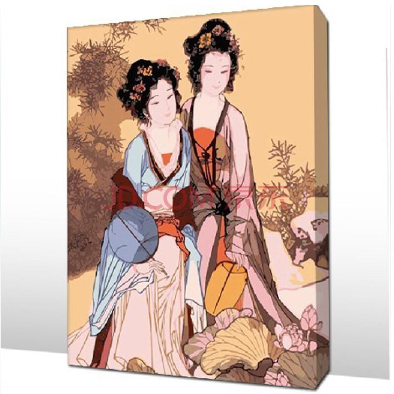 diy手绘数字油画 唐朝美女40*50cm带内框 花卉风景客厅餐厅人物礼品