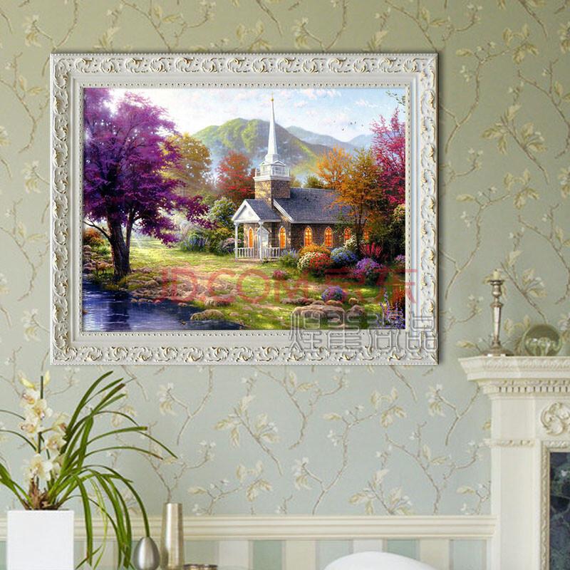 纯手绘田园风景有框 白色实木框-依山傍水