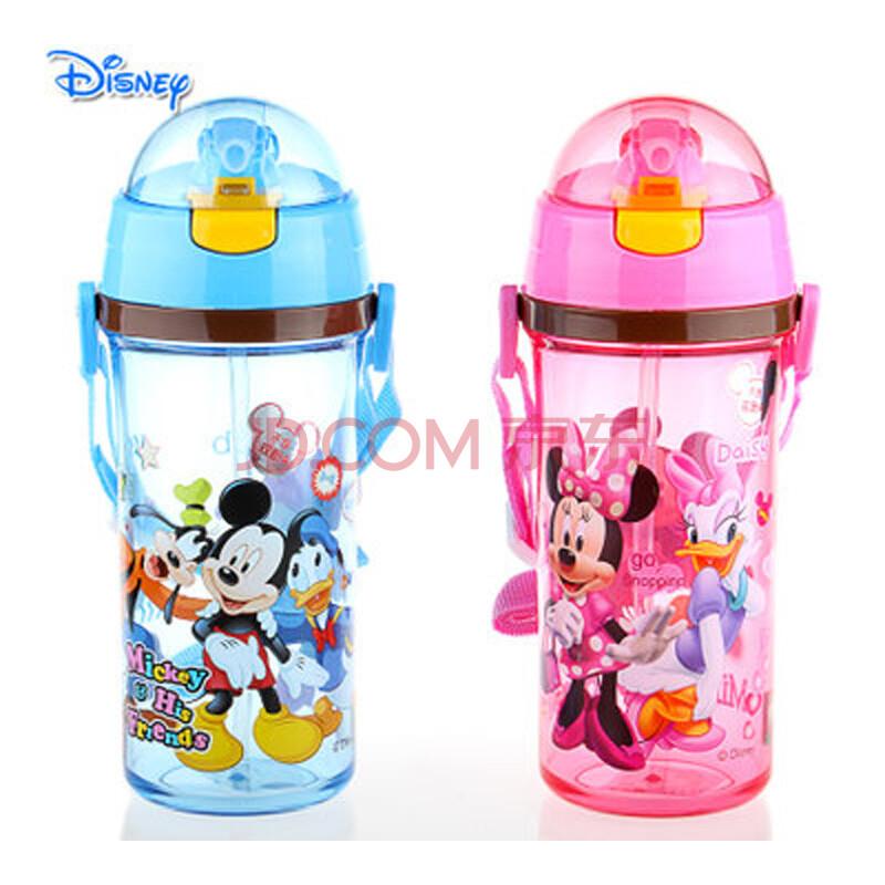 正品 迪士尼儿童吸管杯冷水杯宝宝卡通带提绳水壶