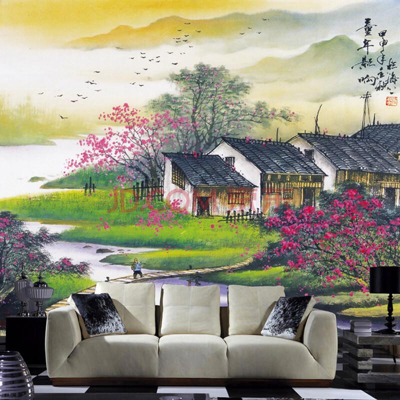 中式简修风格|水墨童年影响电视装饰墙|书房大型壁画壁纸 特价 加厚图片