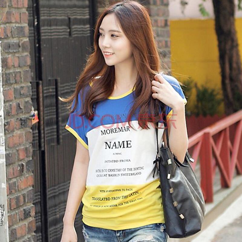 货到付款 2014夏装新品韩版女装时尚字母印花拼接蝙蝠袖纯棉圆领短袖T恤 S9051
