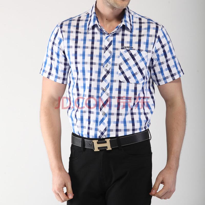 【爆款特价】14夏季新款Jeepmack男装吉普短袖衬衫男士格子大码衬衣时尚休闲纯棉上衣