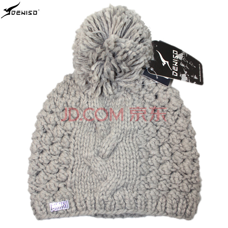deniso秋冬款女士户外保暖套头毛线帽手工编织针织帽子ds-1193 浅米色