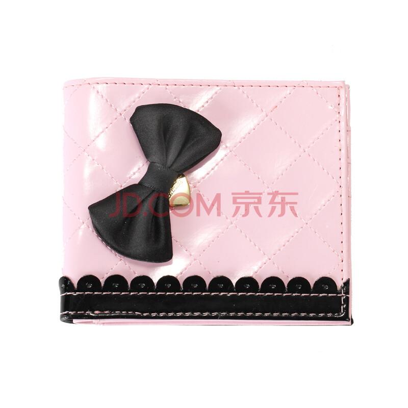pinkme韩版儿童粉黑半花边公主横版钱包