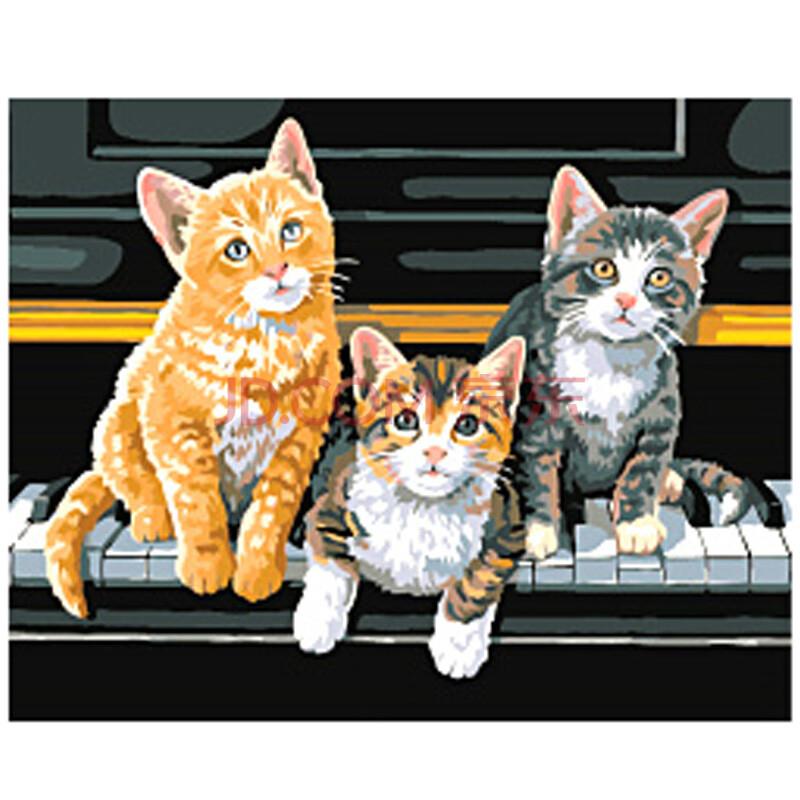 正品高档数字油画diy手绘动物主题【猫类 狗类 鱼类】系列装饰画40*