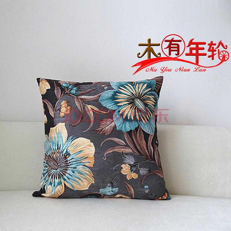 木有年轮 手绘水墨画靠垫抱枕高品质 美式乡村 外单出口腰靠枕精品 含图片