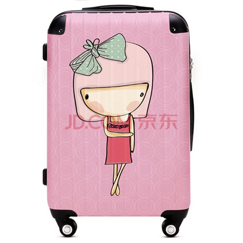 lulu熊 可爱卡通小女孩万向飞机轮拉杆箱旅行箱登机情侣箱shw019 lulu