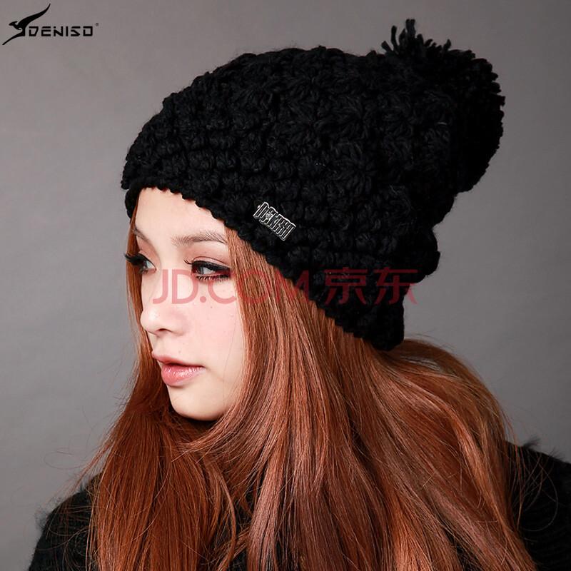 deniso帽子冬帽女款纯手工编织帽毛线帽针织帽ds-1190