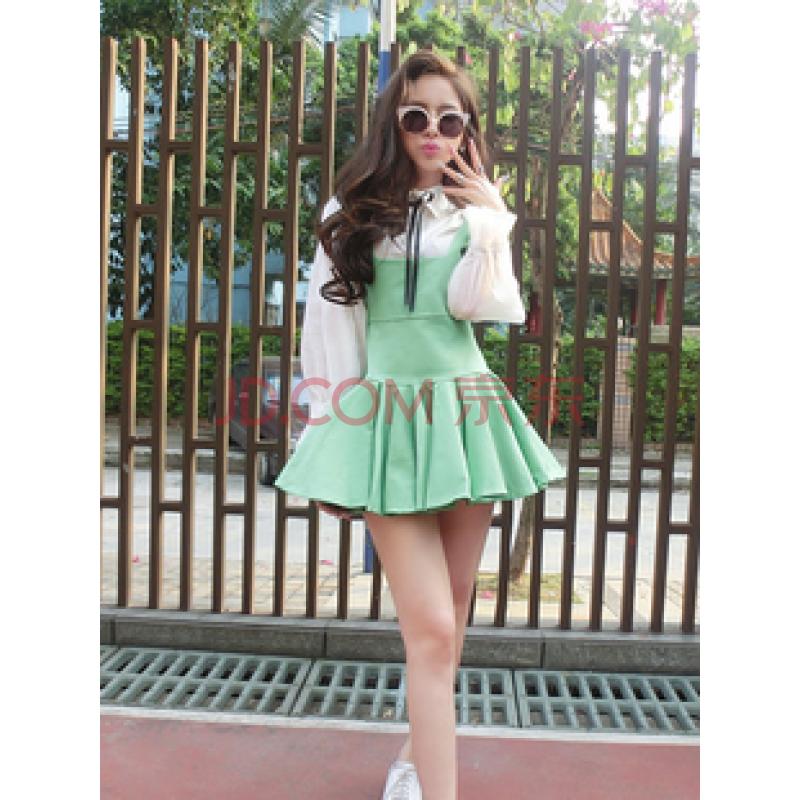 南乌情 货到付款2014春季新款韩国可爱萝莉时尚俏皮纯色背带裙5091