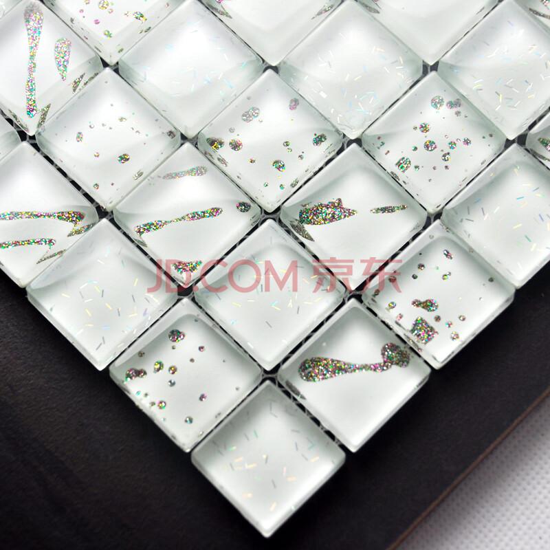 流星手绘水晶玻璃马赛克拼花瓷砖 11-8 白色 300x300mm
