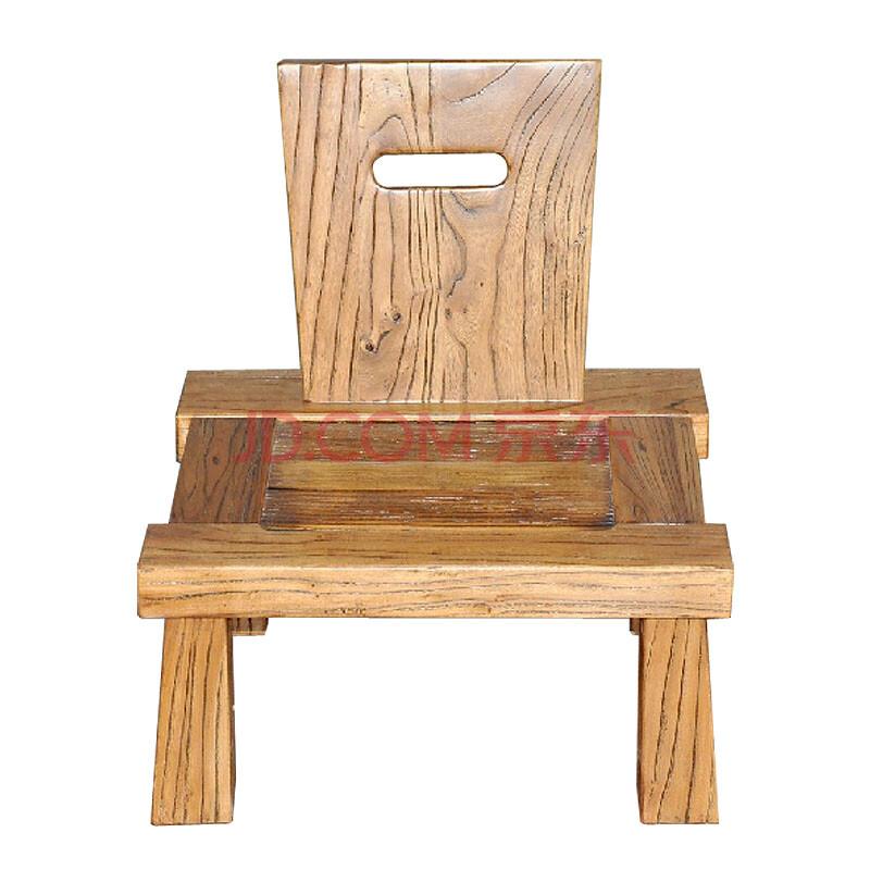 溪木工坊 北方老榆木茶椅 古典中式茶台椅组合茶室实木小椅子yd-01