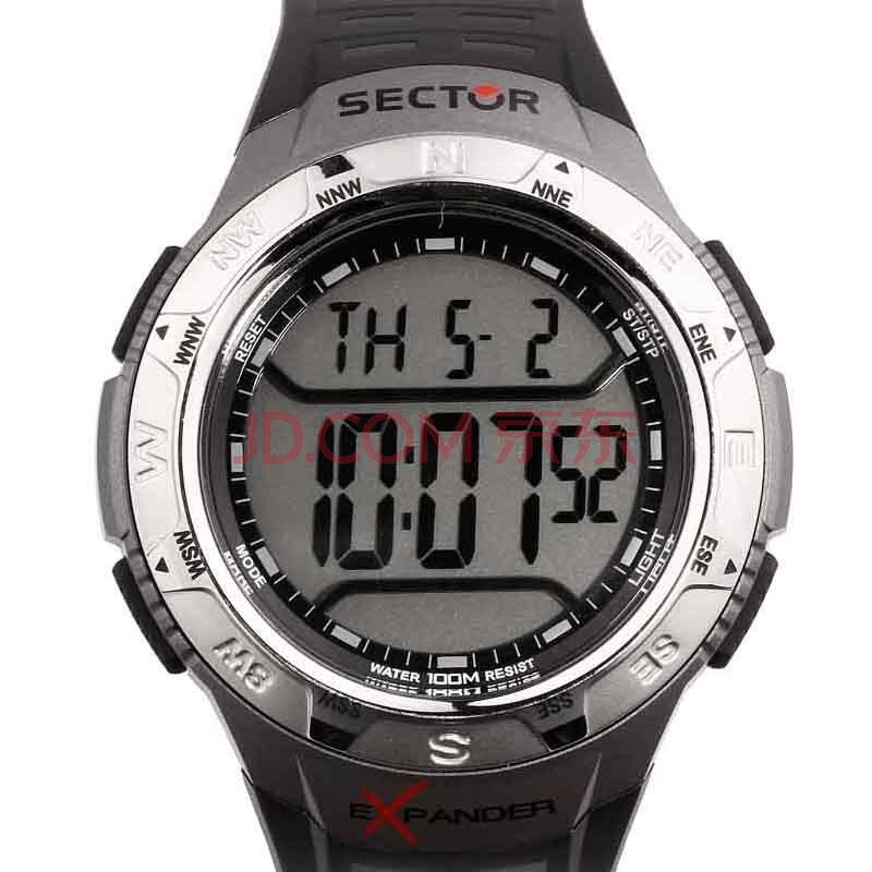 意大利世腾(sector)液晶显示胶带男士手表