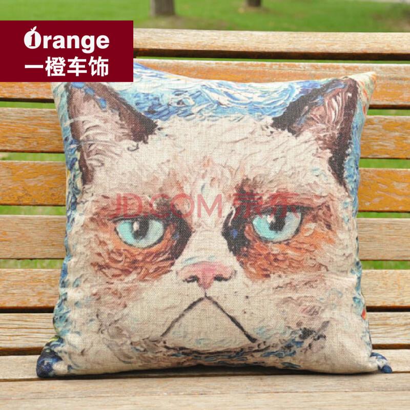 油画猫咪手绘风格棉麻日式卡通抱枕