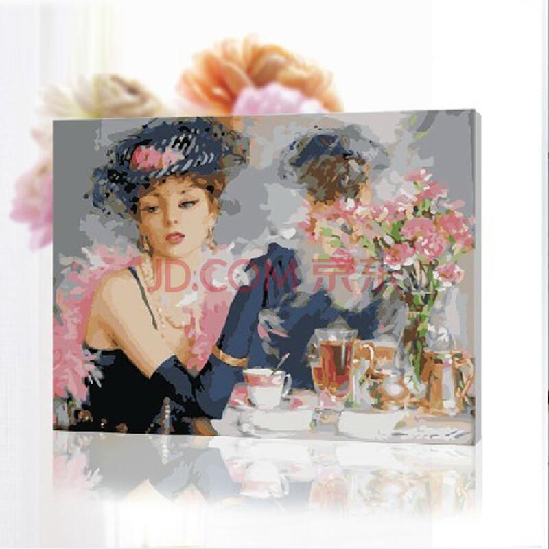 diy手绘数字油画 美丽新娘40*50cm带内框