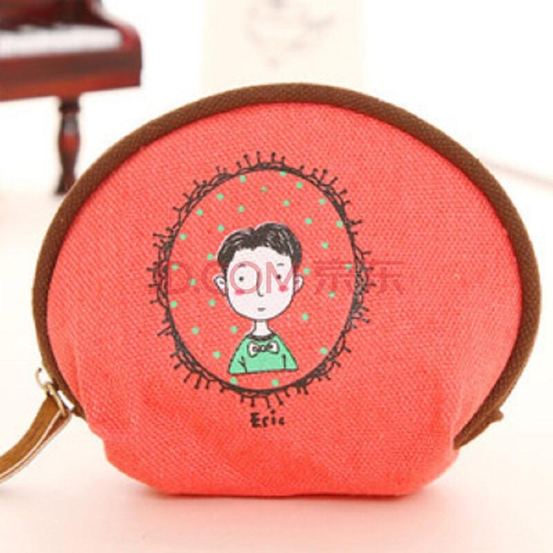 木晖(muhui)小清新风格多功能可爱彩绘帆布硬币零钱手包ykk 0008 西瓜