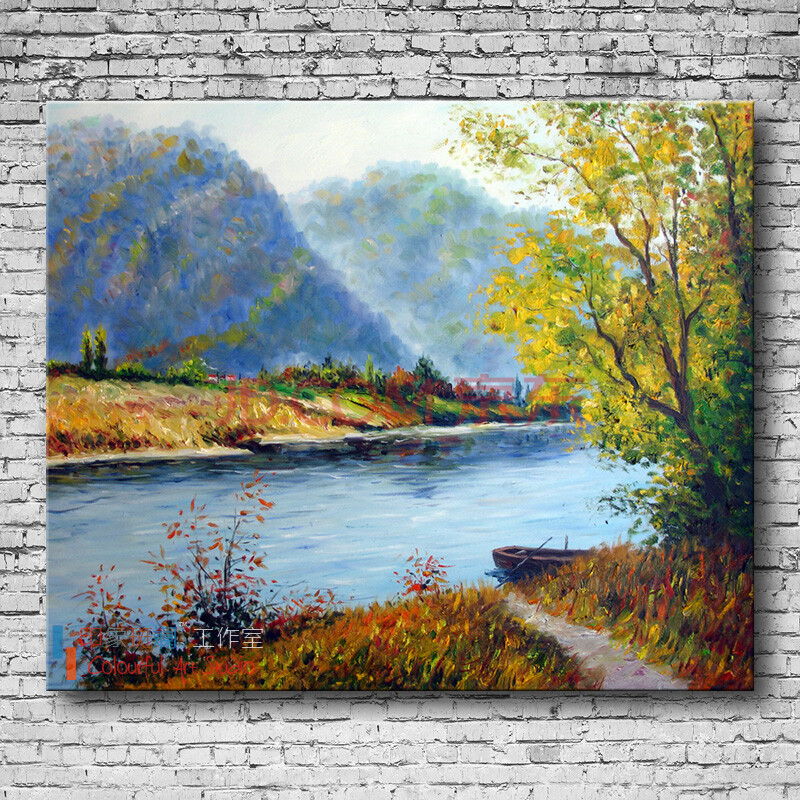 原创风景油画系列06 纯手绘油画 现代别墅客厅装饰画