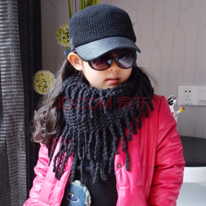 chocolate男女童秋冬款潮搭玉米粒镂空花纹围脖儿童围巾 黑色 均码