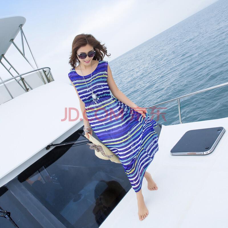 波西米亚新款长裙条纹无袖裙子雪纺背心沙滩裙