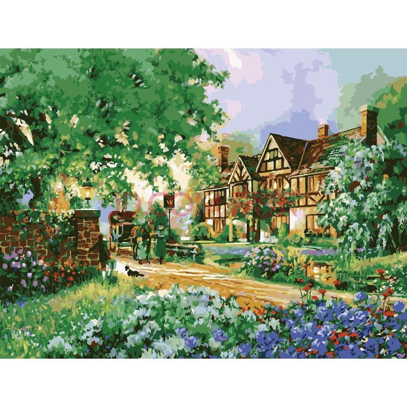 diy手绘数字油画 玫瑰客栈50*65cm 带内框直接挂 花卉风景客厅餐厅